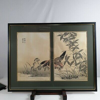 Vintage Japanese Woodblock Print Double Bird Swooping And Catching A Frog