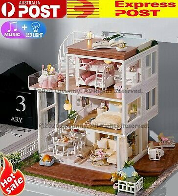 AU DIY LED Music Sweet Home Dollhouse Miniature Wooden Furniture Kit Doll House
