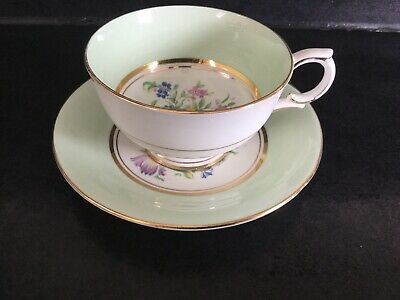 Vintage Clarence Bone China Green and Floral Cabinet Cup and Saucer