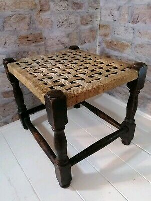 Vintage Wooden Foot Stool woven strung top ratten country style