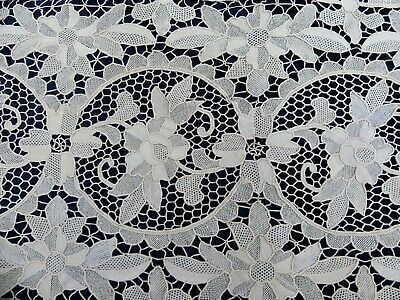 "Antique Italian POINT DE VENISE RETICELLA needle lace runner 48"" x 15"""