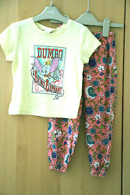 Next Girls Yellow Disney Print Top & Pink Floral Trousers Age 2-3 Years BNWT