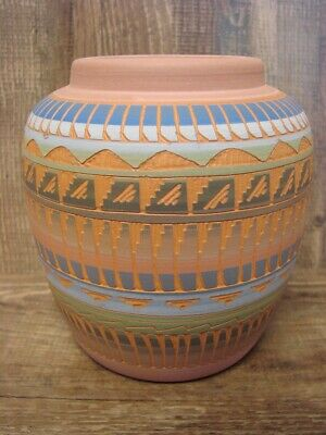 Native American Indian Hand Etched Pot by Mirelle Gilmore