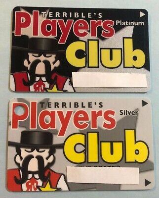 2 retired Terrible's Casino Players Club slot cards Silver & Platinum One Club .