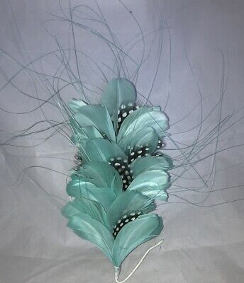 Pale Turqoise Floral Hackle Feather And Grass Millinery Mount