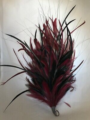 Cranberry /Black Hackle Biot Coq And Grass Millinery Feather Mount