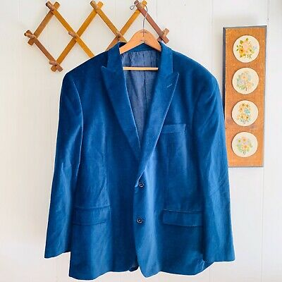 Michael Kors Mens 46R Blue Velvet Blazer Notch Collar Two Button Jacket