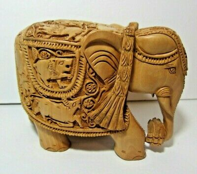 Wood Hand Carved Elephant Collectible Figurine Wooden Wild Animals
