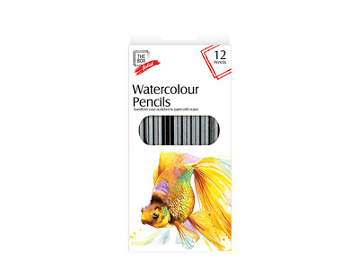 12 x Bold Bright WATERCOLOUR PENCILS Painting Drawing Sketching Colour Paint Art