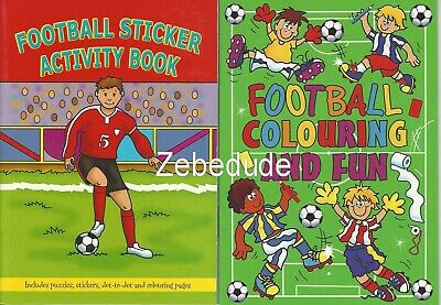 Set 2 x Children's Football Colouring Puzzle Book Stickers Activity Kids Boys