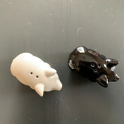 Pair of pretty Pigs, Black and White Salt and Pepper Shakers