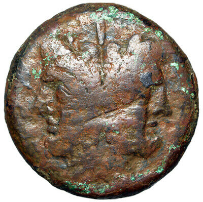 "Roman Republic Anonymous AE As ""Janus Portrait & Prow"" Central Italy 211 BC"
