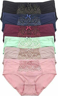 ToBeInStyle Women's 6 Pack Plus Size Frilly Lace Front Panel Cotton Bikini
