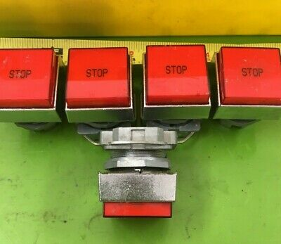 Lot Of 5) Square D Pushbutton Head - 30mm Square / Red / Stop