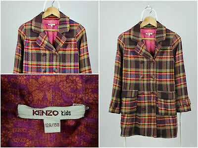 Girls Youths Kenzo Overcoat Coat Check Multicolor Size 12A / 150