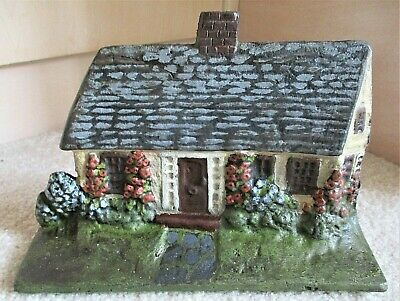 Antique Cottage House DOOR STOP Cast Iron Hand Painted Roses Flowers Appomattox