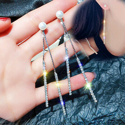 Crystal Silver Drop Jewelry Rhinestone Wedding Earrings Pearl Dangle Long Tassel