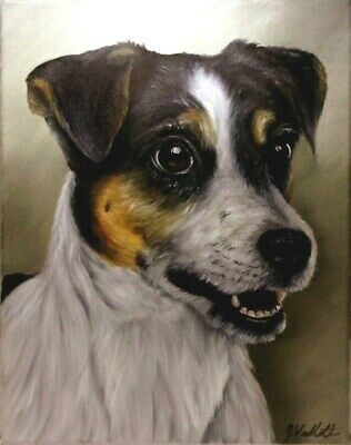 Original Jack Russell Dog Oil Painting Portrait realism style