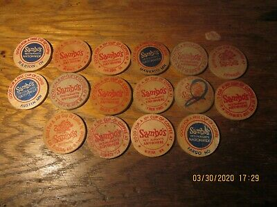 WOODEN NICKEL SAMBO'S GOOD FOR A 10c CUP OF COFFEE 16 DIFFERENT