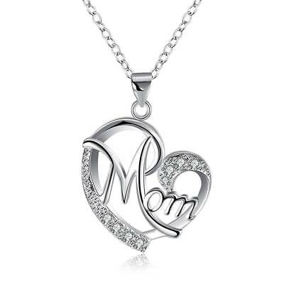 Women Silver Plated Zircon Love Heart MOM Necklace Mother's Day Gift Chic