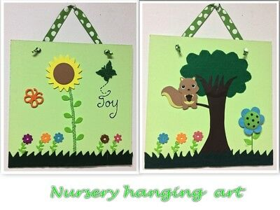 Baby Toddler Nursery Bedroom Picture Wall Hanging Decor Wooden Art Playroom