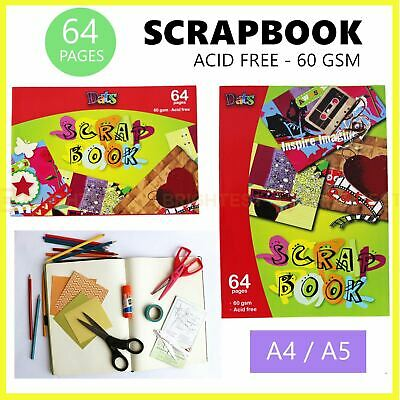 64 Pages Scrapbook DIY Blank Craft Paper Drawing Painting School Photo Book A4/5