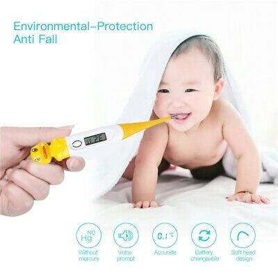 Electronic Digital Oral Temperature Thermometer For Kids Adults Waterproof Super