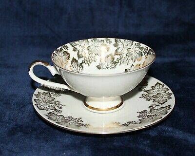 Bareuther Bone China Tea Cup & Saucer. Floral with Gold Detailing. 1960s