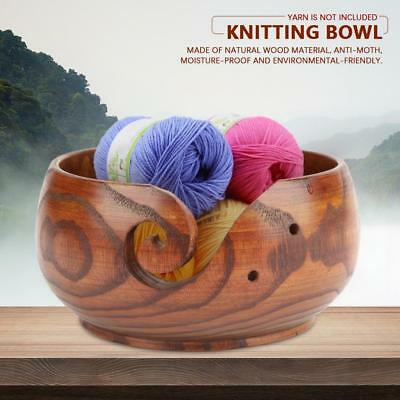 Wooden Yarn Bowl Holder For Yarn Skeins Knitting Crochet Home Storage SS