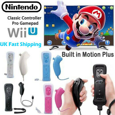 Wireless Motion Plus + Remote Controller Nunchuck For Nintendo Wii & Wii U SET^