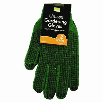 2x Pairs UNISEX Mens Garden Gloves General Working Rubber Strong EasyGrip GREEN