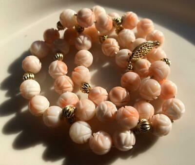 Antique Carved Coral Necklace 14K Gold Bead