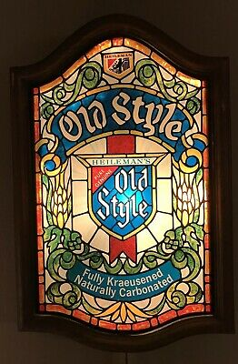 Vintage Heileman Old Style Beer Lighted Bar Sign Faux Stained Glass 24x16 Large