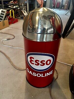 """Esso Gasoline Trash Can SS Top Very Nice 29"""" Tall 12 Gal."""