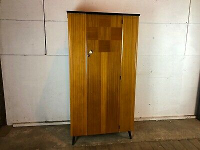 Vintage 1950's Wood Veneer Single Wardrobe with Feet