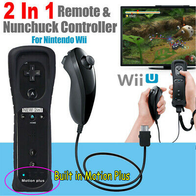 Built In Motion Plus Remote Controller+Nunchuck+Silicon+Hand Strip For Wii U Bl