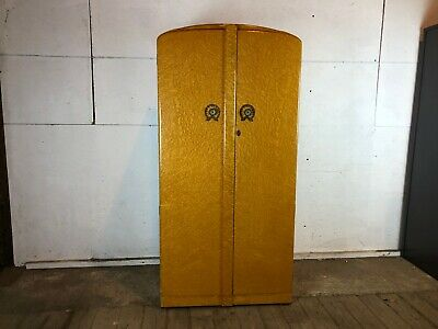 Vintage 1950's Walnut Single Wardrobe with Shelves and Mirror Inside