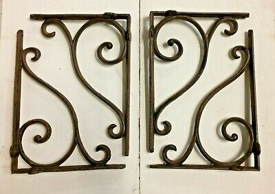 SET OF 4 LARGE RUSTIC  BROWN SCROLL BRACE/BRACKET vintage looking patina finish