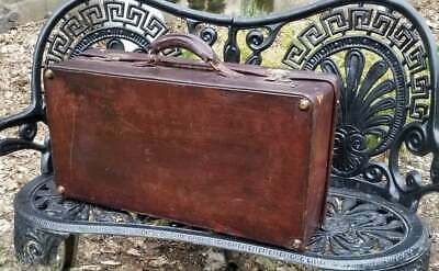 Antique Brown Leather Suitcase