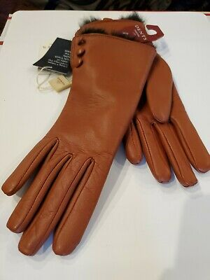Dents Sophie Women's Leather Gloves with Fur Cuffs NWT $195 Size Small