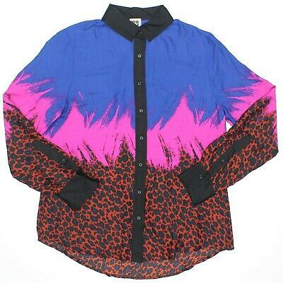 Anne Klein Size 12 Tuscan Combo Blue Pink Red Cheetah Print Button Up Shirt