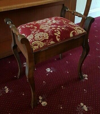 Antique wooden piano storage stool / dressing table chair french legs vintage