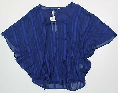 NY Collection Womens Large Blue Chiffon Metallic Detail 2 Piece Top