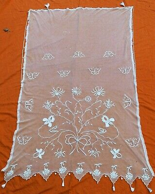 """Antique French Tambour lace net lace curtain? 84"""" x 56"""""""