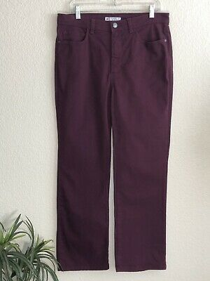 LEE Womens Classic Fit At The Waist Burgundy Jeans Size 14P 34 Inch Waist EUC