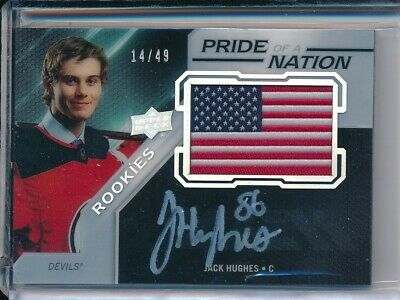 2019/20 Upper Deck UD Black PNA-JH Jack Hughes Pride of a Nation HARD SIGNED