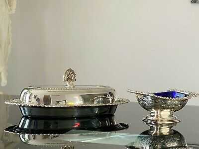 English Sheffield Vintage Silver Plated Butter Dish and Salt Dish.