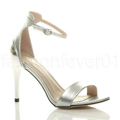 Womens Ladies High Heel Ankle Strap Strappy Evening Wedding Sandals Shoes Size