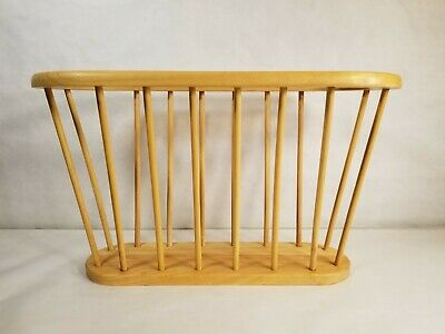 Vintage Mid Century Modern Magazine Rack Holder A. Umanoff Style Wood Excellent