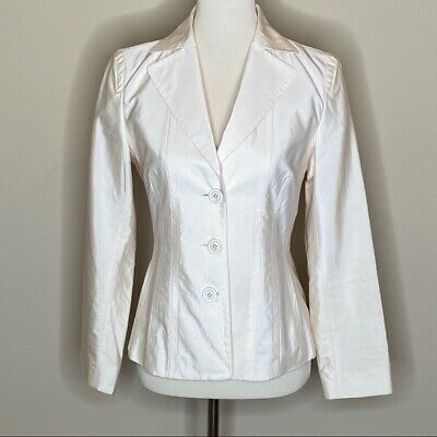 HUGO BOSS Womens Sz 4 Cream Ivory Silk Fitted Blazer 3 Button Jacket Quality